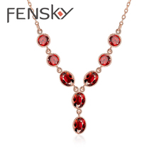 Fensky Western Style Rose Gold Color Resin Necklaces Women Colorful Necklace Pendant Fashion Jewelry for Wedding Free Shipping(China)