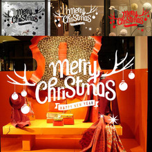 Removable Merry Christmas milu deer Window Stickers Wall Sticker Home Store Room School Office Decoration P20