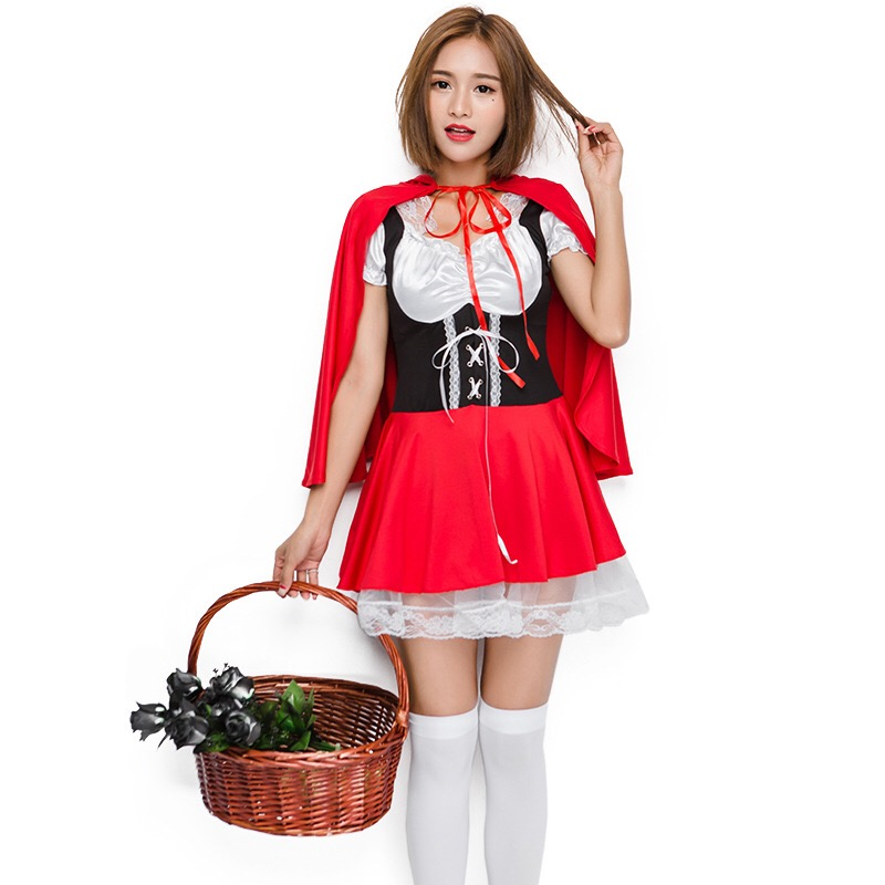 Little Red Riding Hood Cosplay Costume Short Sexy Lolita Hooded