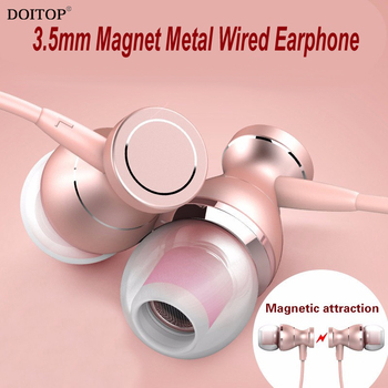DOITOP Universal 3.5mm Wired Magnet Earphones Stereo Headsets with Mic Sport Earbuds Handsfree Earpiece for iPhone Samsung MP3