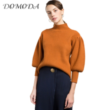 DOMODA 2017 Fashion Sweater Women Casual Vintage Solid Orange Pullovers Lantern Sleeve Turtleneck Winter Female Sweater