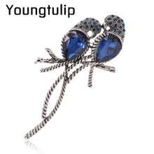 Zinc Alloy and Silver Plated for Women Animal Brooches A Pair of Bird Inlay Shiny Big Blue Crystal for Girls Pins