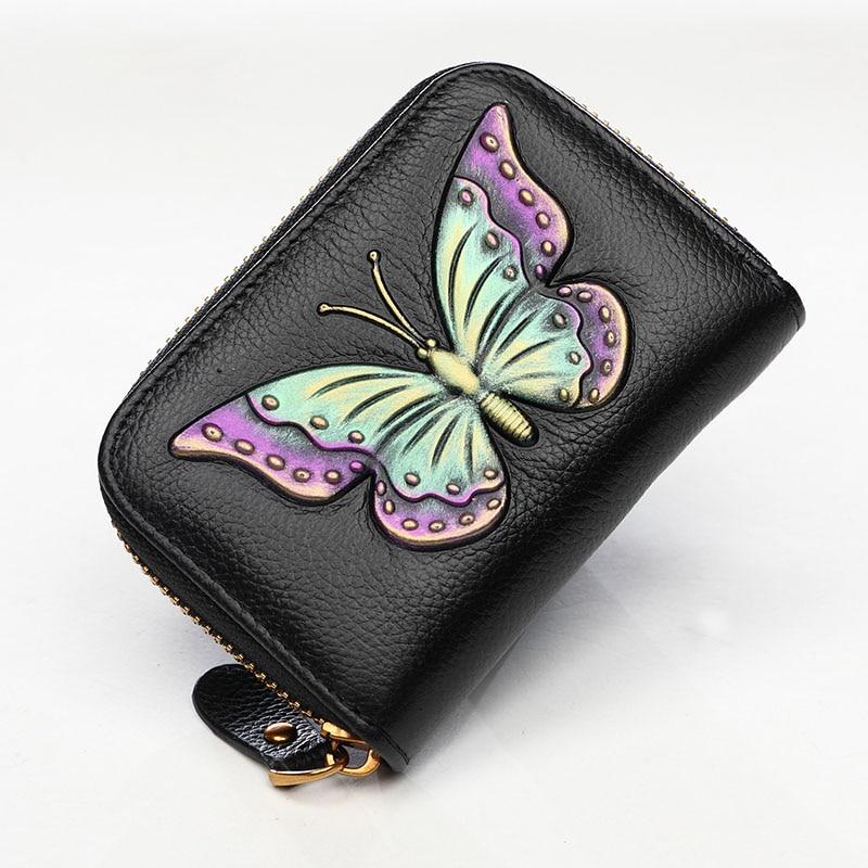 Genuine Leather Brand Lady Vintage Clutch Butterfly Short Coin Card Holder Handbag Female Bag Hand Bag Zipper Large Wallet Purse<br>