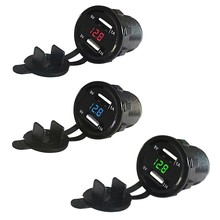 12V 3.1A DC Car-styling Motorcycle Dual USB LED Charger Socket with Cable Voltage Voltmeter Panel(China)