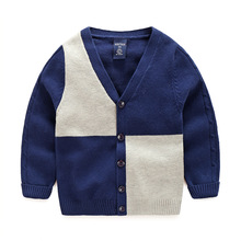 2017 Autumn Brand New Kids Boys Spell color cotton knit Sweater Coat Long Sleeve Children Boy Winter Baby Cardigan Sweater