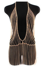 Unique Design Gold Body Chain Europe Fashion Women Metal Gold Tassel Body Chain Harness Full Necklace Jewelry Free Shipping