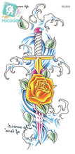 Rocooart FC2510 Shoulder Tattoos Sticker Body Art Yellow Rose Sword Decorative Design Water Transfer Women's Fake Tattoo Sticker