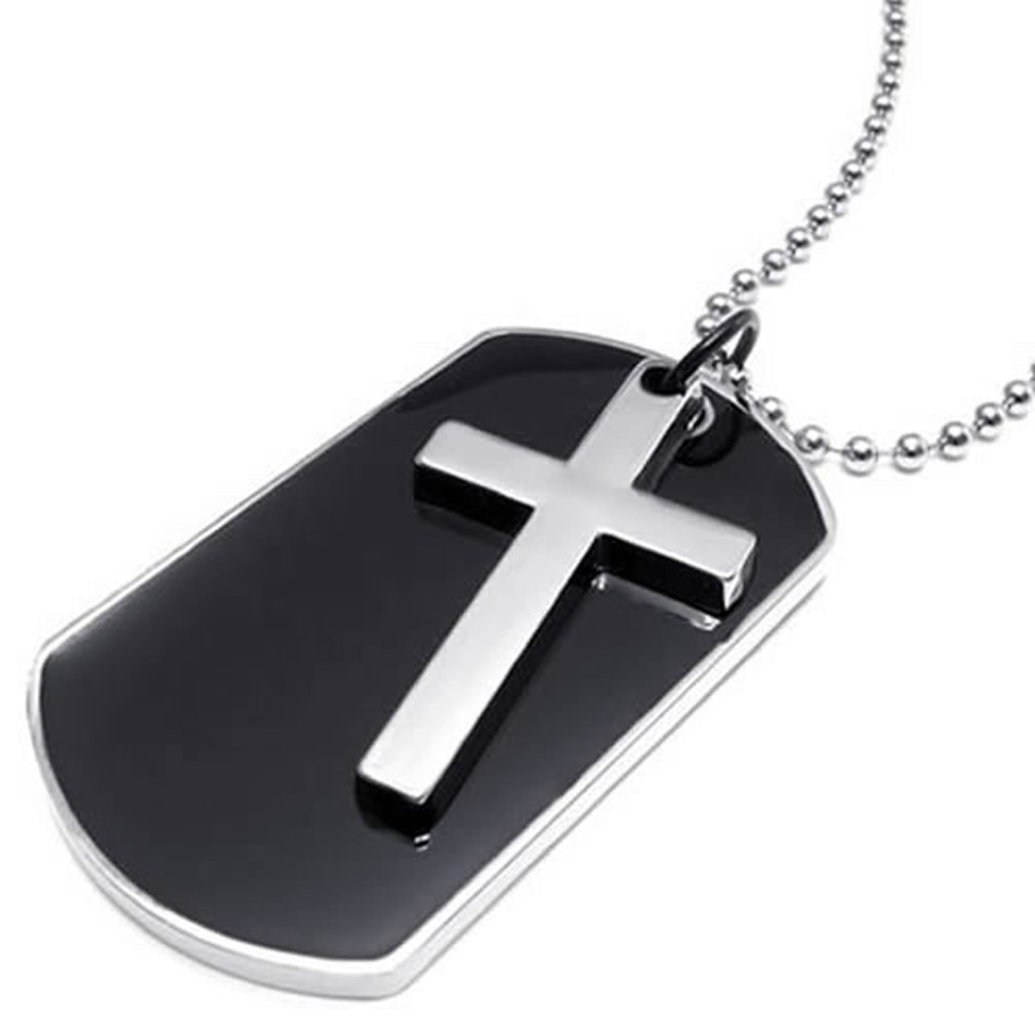 Army Style Dog Tag Cross Pendant Mens Necklace, Color Black Silver, 27 inch Chain(China)
