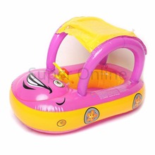 Portable Inflatable Baby Float Seat Boat Car Shape Sunshade Swimming Ring Water Swim Pool Toy