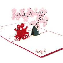 Cherry Blossoms with Lovers 3D Laser Cut Pop Up Paper Handmade Custom Greeting Cards Gifts Souvenirs Postcards Valentine Card