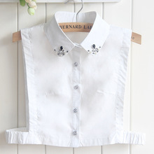 Half Shirt Style Detachable Women Girls Chic faux diamond pearl Fake Collar female white Lapel Shirt sweater necklace removable(China)