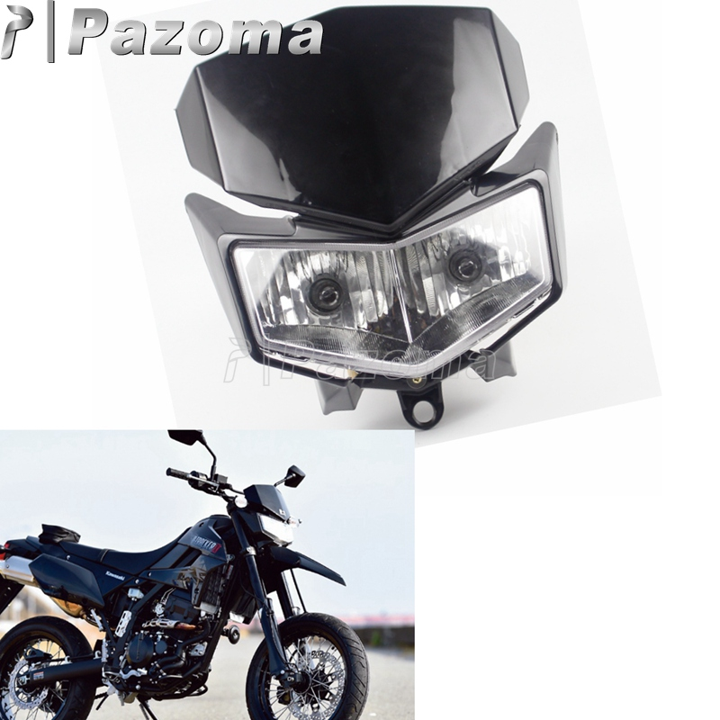 Headlamp Dirt-Bike Kawasaki Off-Road Supermoto Motocross Universal Black Front for KLX title=