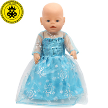 Doll Clothes Fit 43cm Zapf Baby Born Elsa Blue Lace Long Dress Doll Clothes Christmas Gift Doll Accessories Fashion T-4(China)