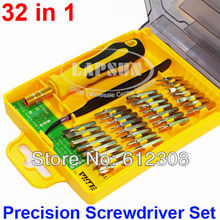 32 in 1 Star Torx Flat Hex Cross Philips ScrewDriver Tool Set  Kit Tweezers 28pc Screwdriver Tip Bit TE-6032 with Case