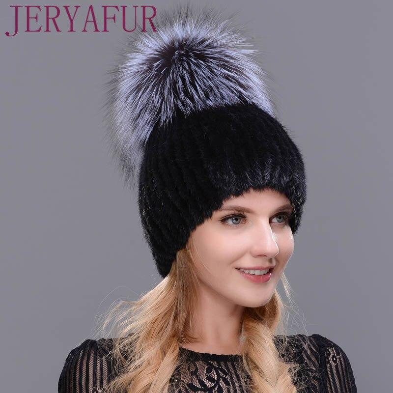 Real mink fur hat for winter women imported knitted mink cap with fox fur  2017 new hot sale high quality female beaniesÎäåæäà è àêñåññóàðû<br><br>