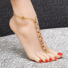 Unique Crystal Beads Elastic rope Chain Anklet Glass Cross Ankle Bracelet Foot women Jewelry(China)