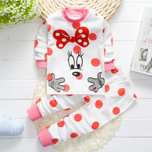 New Girls Underwear Clothing Set Baby 100% Cotton 2Pcs Set Kids Boys Bear Clothing Toddler Girls Minnie Cartoon Print Clothes