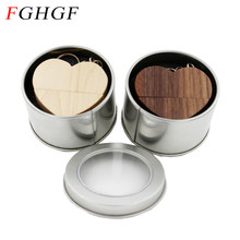 FGHGF wooden heart usb flash drive with metal box pen drive 4GB 8GB 16GB 32GB memory stick U disk LOGO engraving wedding gift
