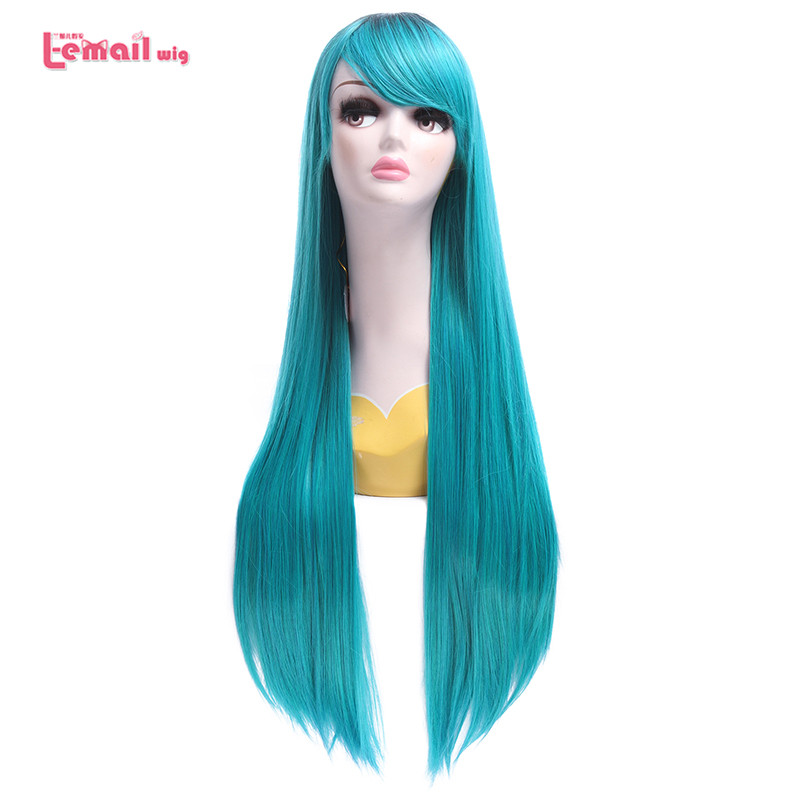 L-email Sweet Gril Long Straight Mixed Blue Cosplay Wigs High temp Synthetic Fiber Hairs<br><br>Aliexpress