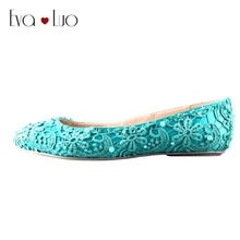 CHS580 DHL Express Custom Handmade Flat Heel Turquoise Lace Bridal Wedding Shoes Women Flat Shoes
