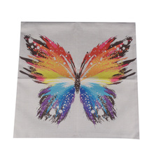 "LINKWELL 18x18"" Fashion Watercolour Colourful Butterfly Beautiful Polyester Cotton Pillowcase 80g Light Weight Cushion Cover"