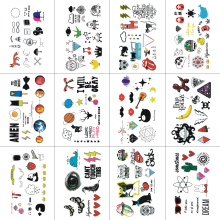 Buy WYUEN 12 PCS Cartoon Temporary Tattoo Sticker Children Fashion Body Art Kids Waterproof Hand Fake Tatoo 10.5X6cm W12-16 for $3.18 in AliExpress store