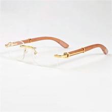 Vazão Madeira Óculos de Armação Homens Óculos Sem Aro de Ouro para o Homem  Anti Reflective Óculos Óculos de Lente Clara para a P.. d6de72e550