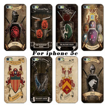 The latest fashion white PC shell casing For Apple iPhone 5c case power game Captain America shield mobile phone sets