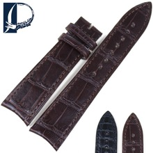 Pesno Suitable for Jaeger-LeCoultre Vacheron-Vonstantin Black Brown Alligator Skin Leather Wrist Watch Strap 21x18mm Watch Band(China)