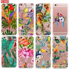 Case For iPhone 4s 7 X 6S 6 5S 8 7Plus 6 Plus 8 Plus Soft TPU Case Mobile Phone Shell Flowers And Bird Patterned Abstract Style(China)