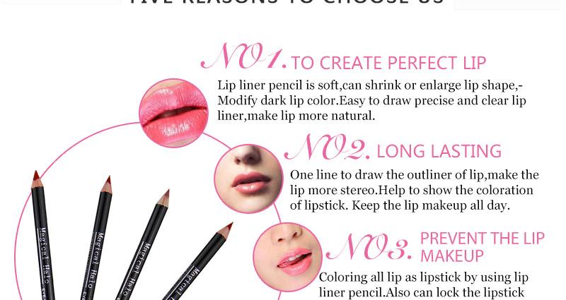 Magical Halo 12pcs/set Pro Waterproof Bright Pencil Lip Liner Pencil Makeup Cosmetic For Lips Long Lasting Lipliner Pen Lipliner 14