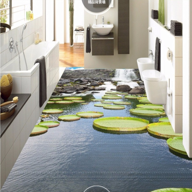 Free Shipping Waterfall lotus leaf lotus pond 3d floor painting wear non-slip waterproof bedroom kitchen square flooring mural<br><br>Aliexpress