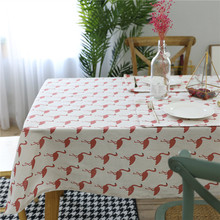 2017 Hot Sale Korean Flamingos Tablecloth Cotton Linen Dinner Table Cloth Home Decoration  Pastoral Washable Table Cover Mantel