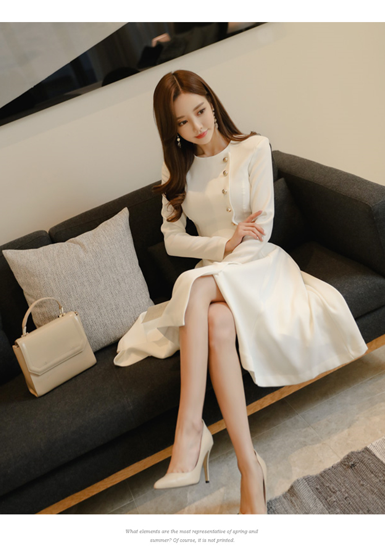 Elegant Dress Women Casual Long Sleeve Dress Office Lady Runway Designers High Fashion Dress 12