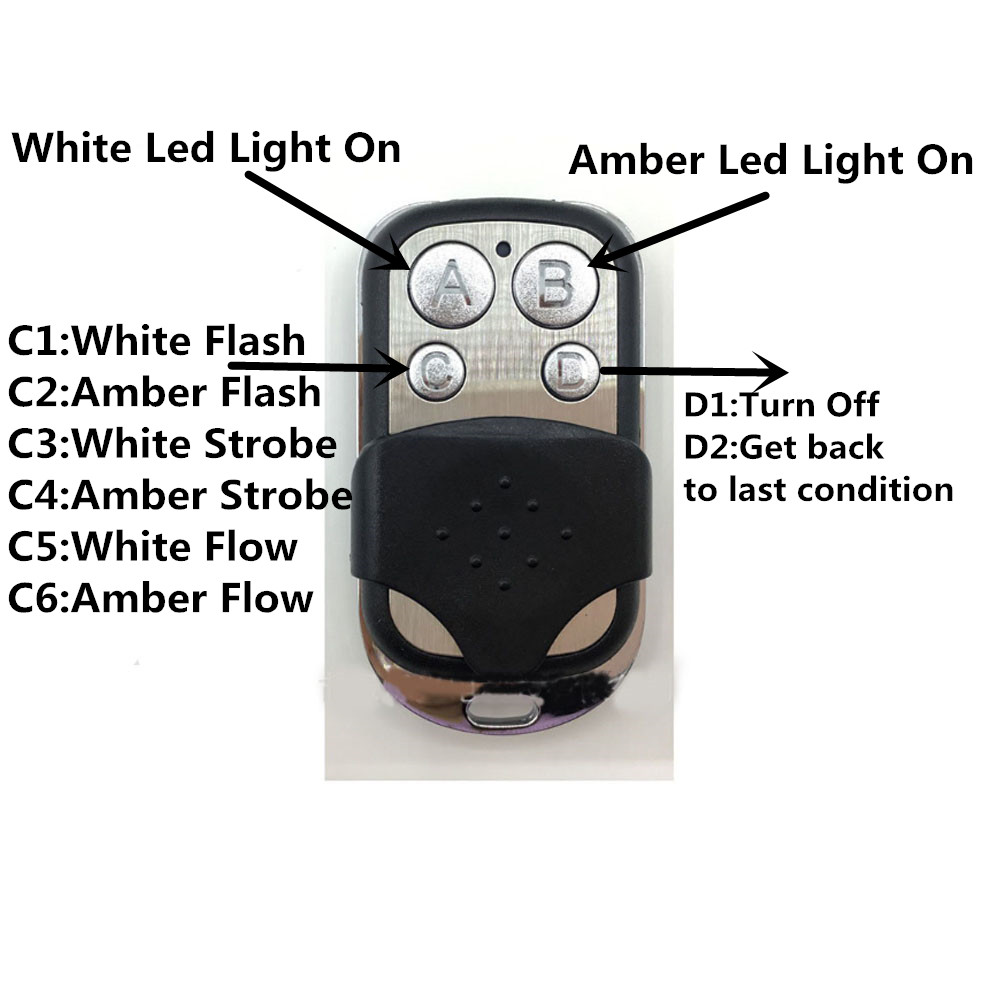 remote controller white and amber led light bar