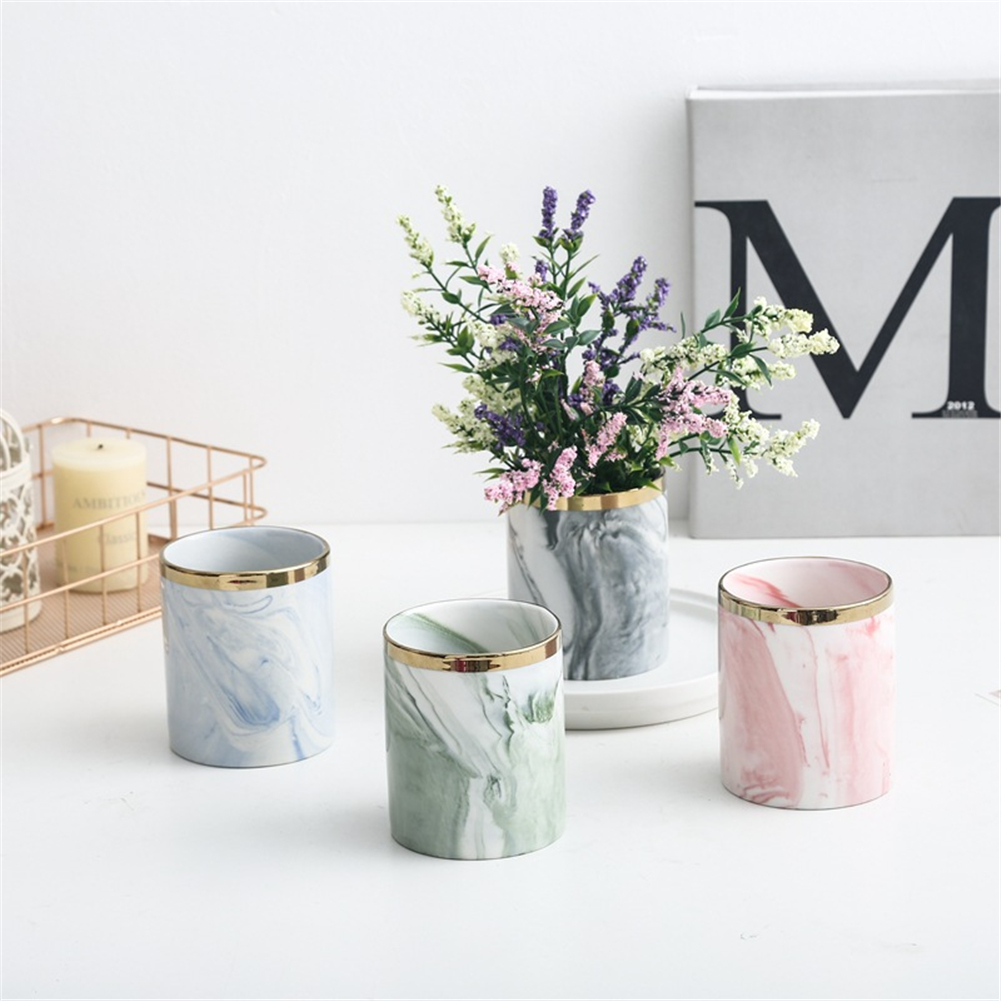 Marble Succulent Plants Flower Pot Wrought Iron Vase Ceramic Set Creative Flower Stand Home Gardening Table Decoration 4