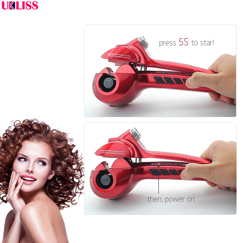 Automatic Curler with LED Steam Hair Curlers Perm Curlers Steamer Curl Hair Rolloer Styler air Wand rotating curling iron<br>