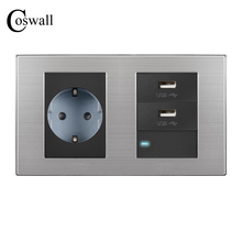 COSWALL Double Panel EU Standard Wall Socket + Dual USB Charge Port For Mobile 5V 2.1A Output  + 1 Gang 1 Way Switch With LED