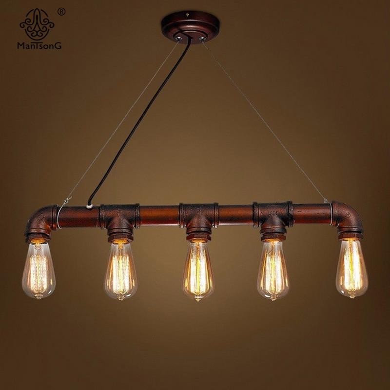 American Retro Water Pipe Antique Designer Metal Glass E27 Bulbs Iron Pendant Lamp For Decor Restaurant Bar Interior Lighting<br>