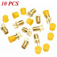 10Pcs SMA Female Jack Nut Bulkhead Solder Edge 1.2 mm Space PCB Clip Mount Straight RF Connector Plug