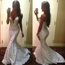 2016 Tight Fitted Glitter Rhinestone Prom Dresses America Senior Designs Prom Gowns With Sweetheart Neckline Sexy Mermaid