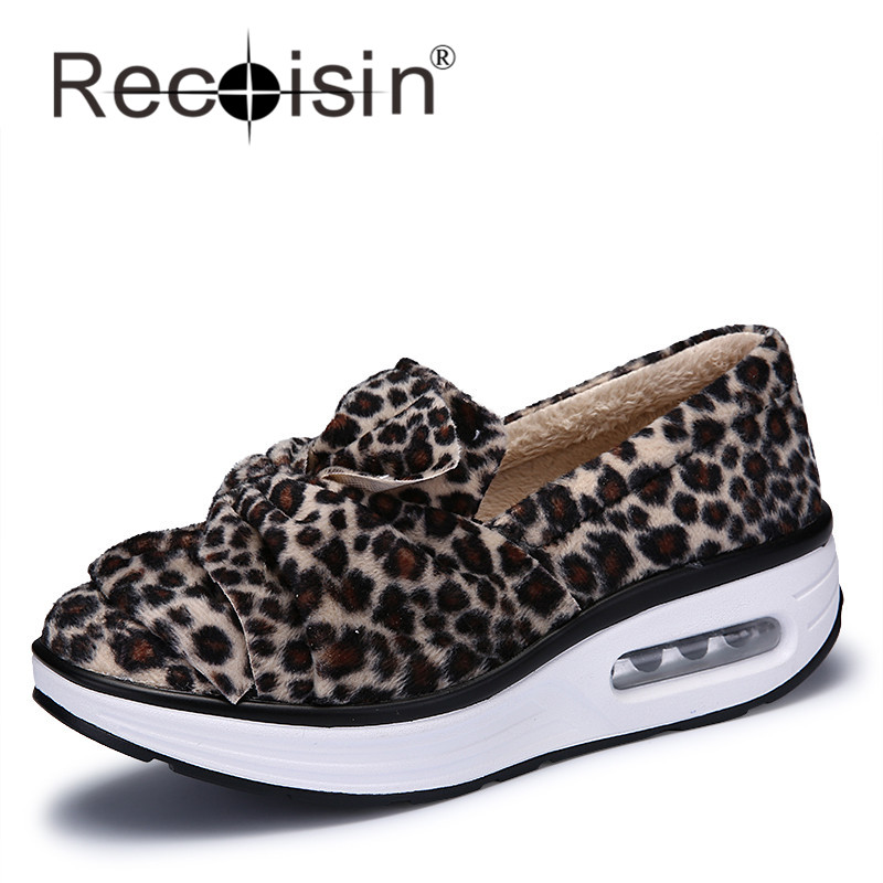 RECOISIN 2017 Autumn Casual Women Shoes Height Increasing Wedges Platform Shoes Woman Sexy Leopard Winter Shoes With Fur 7669   <br><br>Aliexpress