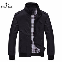 Men's casual black jacket simple British style plaid lining new fall 2017 men's business brochure designer aviator jacket 1235(China)
