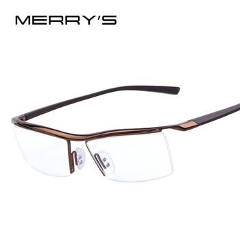 Merry's homens armações armações de óculos rack de óculos comerciais óculos de moda quadro miopia titanium quadro tr90 pernas
