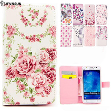 JFVNSUN Case for Samsung Galaxy J5 J500 2015 NEW Luxury Flowers Cute Bear Deer Pattern Wallet Leather Flip Cover for Samsung J5