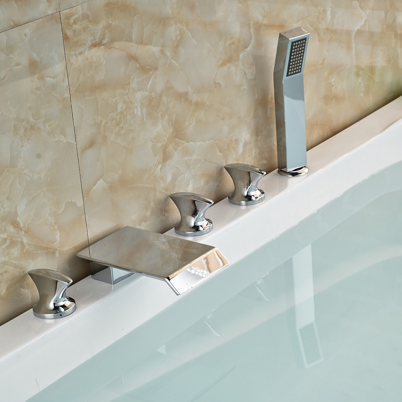Deck Mount 5Pc Tub Waterfall Faucet Chrome Finish Bathroom Bathtub Filler With Handshower<br><br>Aliexpress