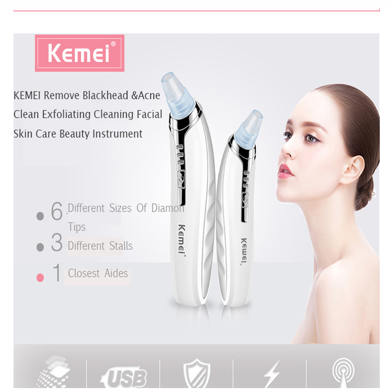 Kemei Electric Portable Removal Blackhead KM-1868 Suction Facial Pore Cleaner Acne Remover Tool Kit Skin Care Beauty Machine<br>