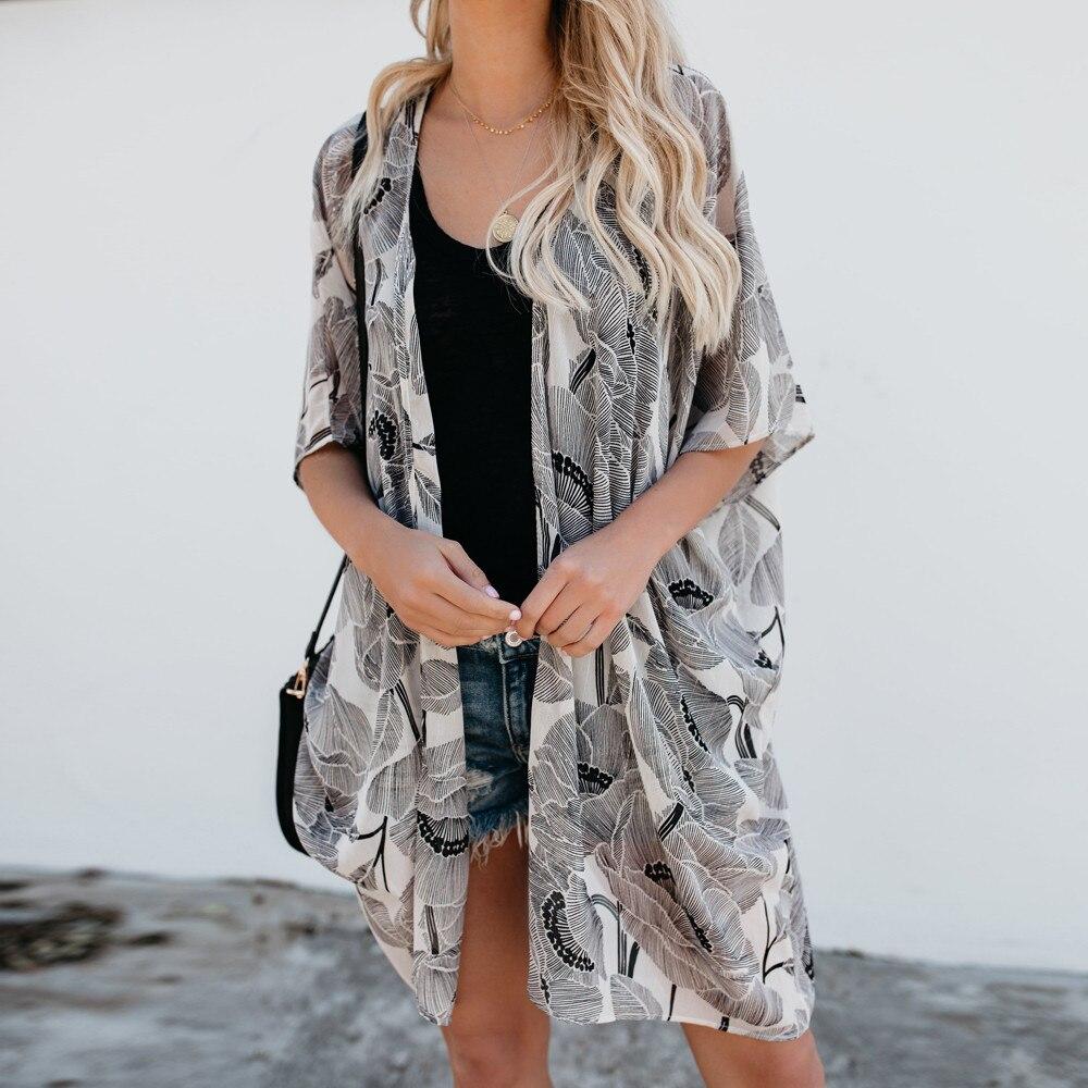 Fashion Women Chiffon Floral Printed Half Sleeve Kimono Cardigan Coat Top Blouse