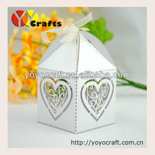 "wedding favor and gift Laser cut ""love heart""wedding cake favor boxes white laser cut favor boxes"