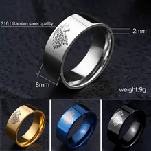 Beier 316L Stainless  Steel  Game of Thrones ice wolf House Stark of Winterfell men High Quality Wholesale Fashion Ring LL001